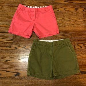 J.Crew City Fit chino shorts sz 4 pink green BOTH